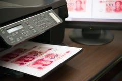 Druk valse RMB-document munt Stock Foto's