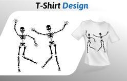 Druk van de twee de zwarte sceletons dansende t-shirt Spot op het malplaatje van het t-shirtontwerp Vectordiemalplaatje, op wit w Stock Foto's