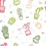 Druk van het cactus de naadloze patroon Het leuke ontwerp van de manierstof voor kinderdagverblijf of kleren vector illustratie