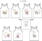 Druk voor de t-shirts van kinderen 7 dagen - de week heeft een reeks van 7 dieren Royalty-vrije Stock Foto