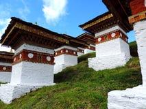 Druk Wangyal Chortens bij Dochula-Pas, Bhutan stock foto