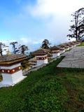 Druk Wangyal Chortens en el paso de Dochula, Bhután imagen de archivo