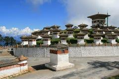 Druk Wangyal Chortens werd gebouwd dichtbij Thimphu (Bhutan) Stock Foto's