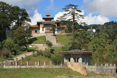 The Druk Wangyal Lhakhang, near Thimphu (Bhutan), was built on the top of a hill. Stock Photos