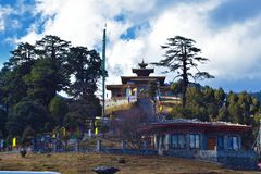 Druk Wangyal Monastery with a beautiful cloudy background stock image