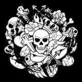 Druk z retro tatuaży symbolami Kreskówki starej szkoły ilustracja ilustracja wektor