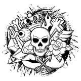 Druk z retro tatuaży symbolami Kreskówki starej szkoły ilustracja Fotografia Stock