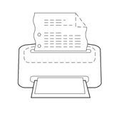 Drukarka lub drukowa ikona set kropkujący nakreślenie Zdjęcie Royalty Free