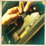 Drukarki położenia letterpress metalu typ fotografia stock