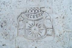 Druketiketten, naam van de stad, Nessebar, Bulgarije royalty-vrije stock afbeeldingen