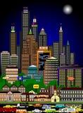 Drukke cityscape in de nacht stock illustratie