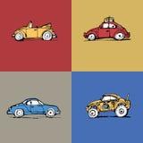 Drukkenauto's van blauwe rode gele kaki Stock Afbeeldingen