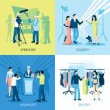 Drukker en Journalist Concept Icon Set Stock Afbeelding