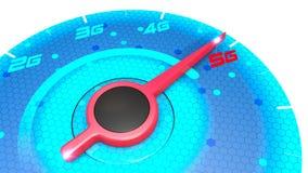 Drukmaat, snelheidsmeter, snelheidstest, Internet-snelheid en 5G-verbinding De nieuwe technologieën, exploiteren breedband Techno vector illustratie