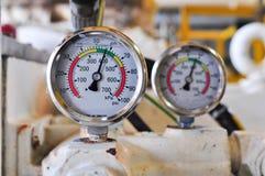 Drukmaat voor het meten van druk in het systeem, stock fotografie
