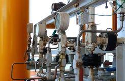 Drukmaat voor het meten van druk in het systeem, de Olie en het gas Stock Foto's