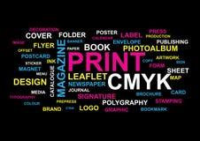 Drukować słowo kolaż Fotografia Stock