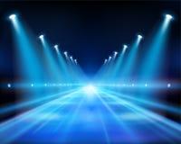 Illuminated street at night. Vector Illustration. Illuminated road at night. Empty city street. Blue background. Abstract vector Illustration royalty free illustration