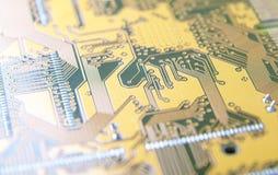 Drukowany obwód deski zakończenie, kontaktowi ślada elektronika wi zdjęcie royalty free