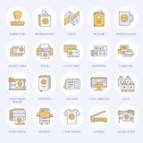 Drukowego domu mieszkania linii ikony Druku sklepu wyposażenie - drukarka, przeszukiwacz, kompensująca maszyna, spiskowiec, brosz royalty ilustracja