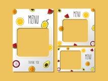 Drukowy szablonu menu owoc cukierki ilustracji