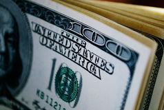 Drukowy szczegół Stany Zjednoczone 100 dolarowy rachunek Zdjęcia Stock