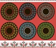 Drukreeks van etnisch rond ornament stock fotografie