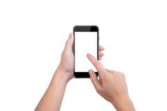 Drukt de zwarte vinger van het telefoonscherm van een hand Stock Afbeeldingen
