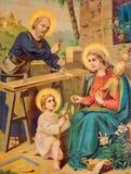 Drukte het Ypical katholieke beeld beeld van Heilige Familie van het eind van 19 cent oorspronkelijk gedrukt in Duitsland door on Stock Foto