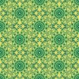 Druku Bezszwowy wzór Mandala Kwitnie z Żółtym tłem Obraz Royalty Free