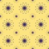 Druku Bezszwowy wzór Mandala Kwitnie z Żółtym tłem Fotografia Royalty Free