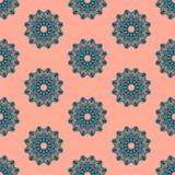 Druku Bezszwowy wzór Mandala Kwitnie z różowym tłem Fotografia Royalty Free