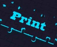 Druku klucz Pokazuje drukarce Drukowego kopiowanie Lub wydruk ilustracja wektor