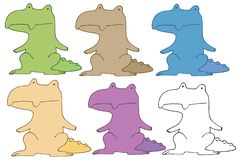 Druku krokodyla kreskówki doodle koloru ręki remisu ustalony potwór royalty ilustracja
