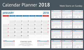 2018 druku szablonu kalendarzowy tydzień Zaczyna Niedziela portreta orientację Ustawiającą 12 miesiąca planisty dla 2018 rok royalty ilustracja