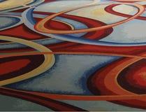 Drukuje Abstrakcjonistycznego kolorowego błękit, zieleń, kolor żółty, czerwony zawijasa okręgu pierścionek Zdjęcie Stock