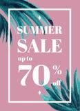 Drukuje lato sprzedaż w górę tu 70 procentu daleko Sztandaru lub plakata wi fotografia stock
