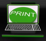 Drukuje Na monitorze Pokazuje drukarkę ilustracji