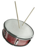 Drum. Snare drum and drumsticks isolated on white background. 3D render royalty free illustration