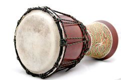 Drum. Wooden drum on a white background Stock Photos