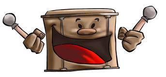 The drum. The big brown drum smiling Royalty Free Stock Photo