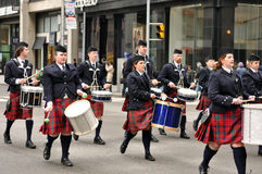 Drum band in St. Patrick's Day Parade Stock Images