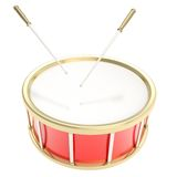 Drum barrel with sticks isolated. Red glossy drum barrel with sticks isolated on white background Royalty Free Stock Images