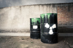 Drum barrels spilled hazardous content Stock Photography