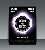 Drum and bass party flyer. Eclipse drum and bass party flyer print, poster or banner Stock Photos
