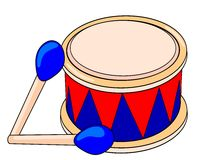 Drum. Blue and red drum, vector image Stock Image