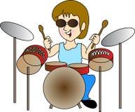 Drum boy. Illustration of drum boy drawing isolated on white background stock illustration