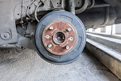 Drum brake assembly, changing tire. Royalty Free Stock Photo