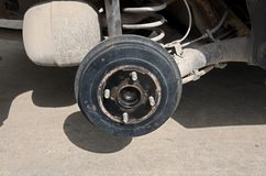 Drum brake in the automobile shop. Selective focus Stock Images