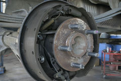 Drum brakes. System showing shoes and springs Stock Image